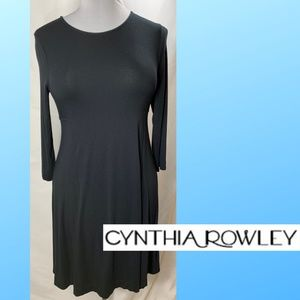 Black Cynthia Rowley Long Sleeve Cotton Feel Dress